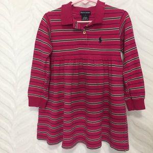 Ralph Lauren Dress Pink Striped Polo Style 4T